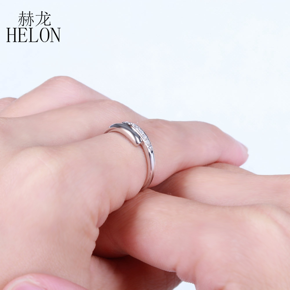 HELON Solid 10K White Gold Pave Natural Diamonds Wedding Anniversary ...