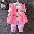 2016 nuevos muchachos y muchachas del bebé de dibujos animados traje de marca de ropa para niños 100% algodón ropa de las muchachas 3 unids/set envío gratis