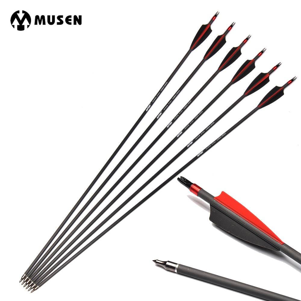 6/12 / 24pcs 31 pulgadas Spine 340 flechas de carbono con 2 plumas - Caza - foto 1