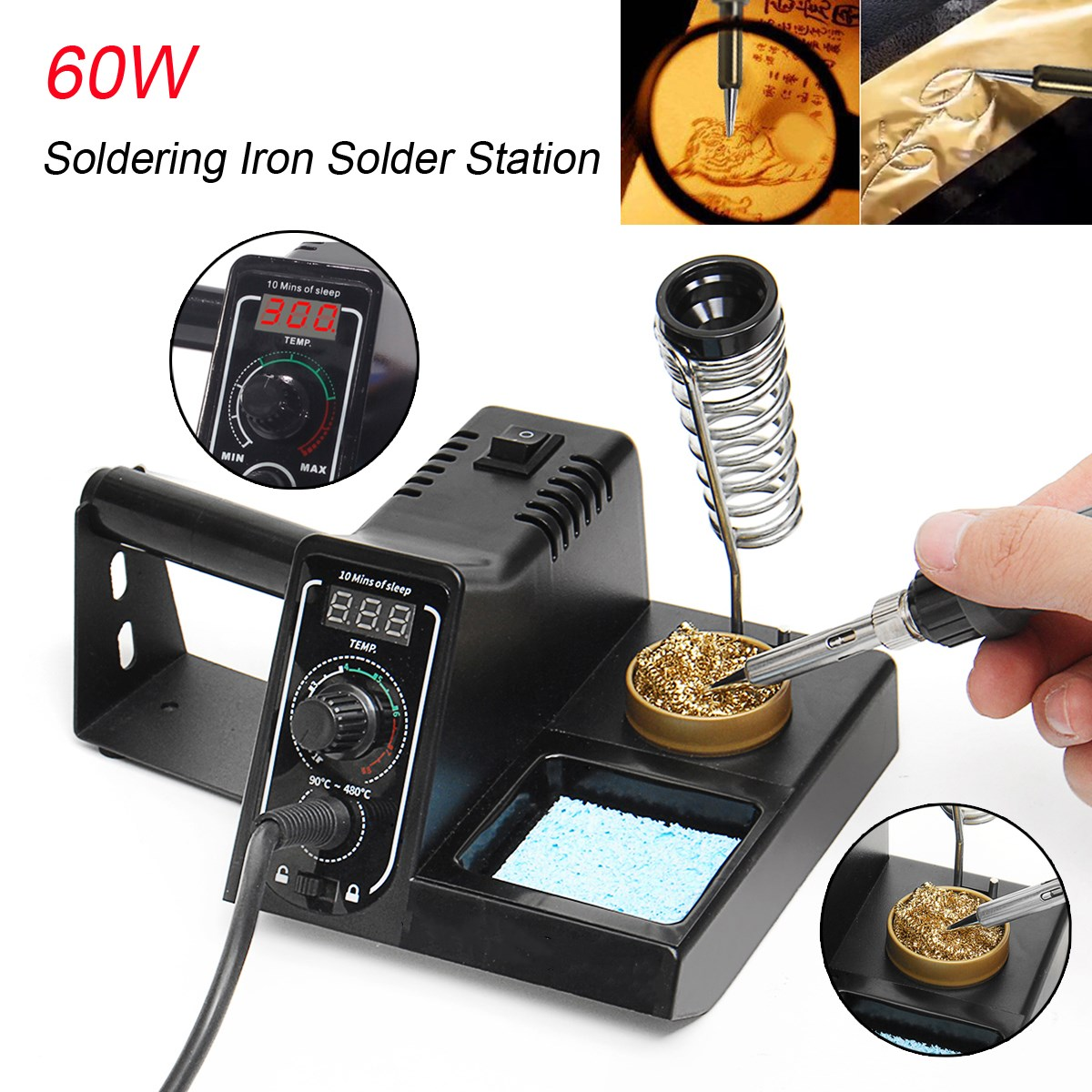 60W Solder Iron Rework Station Soldering Station Variable Temperature LED Display + Gun Stand Soldering Kit 220V esd safe 75w soldering handpiece t245a solder iron handle for di3000 intelligent soldering station