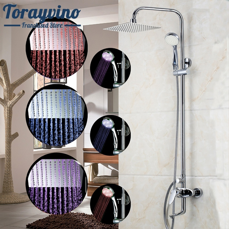 8 LED Bathrome Bathtub Rainfall Shower head Polished Wall Mounted Swivel Mixer Taps Shower Faucets Set Chrome Finish