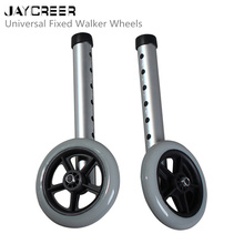"JayCreer 1Pair(2PCS) Medical Universal 5"" Walker Wheels Universal Fixed Walker Wheels"