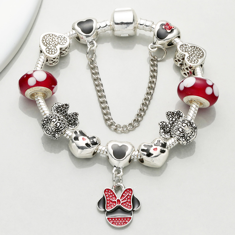 CHIELOYS Fashion Mickey & Minnie Charm Bracelet & Bangles With Cartoon Pendant Pandora Bracelet Jewelry Gift Pulseras BA048