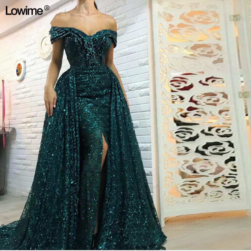 Dubai Dark Green Sparkly Formal Evening Dresses Mermaid Two Pieces Off Shoulder Split Long Sexy Prom Party Gowns
