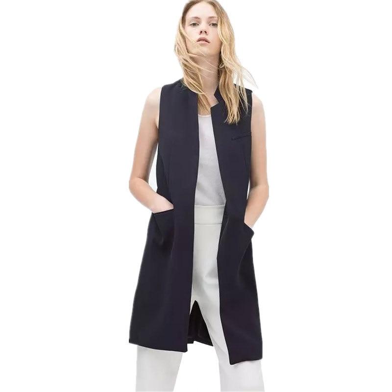 Aliexpress.com : Buy 2017 Sleeveless Long Basic Jackets Suit ...