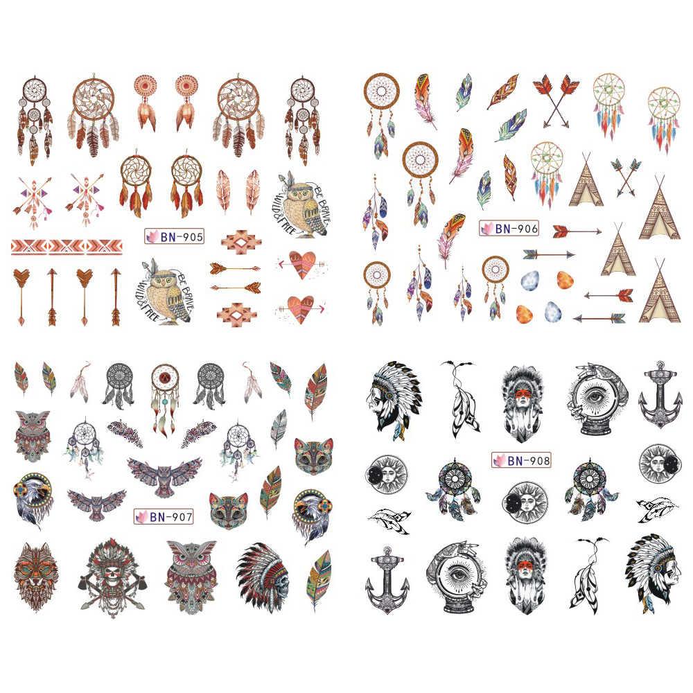 12 disegni Colorati Decalcomanie Del Chiodo di Acqua Cursore Dream Catcher Piuma Harajuku Gufo Nail Wraps Tatuaggio Decorazione di Accesso BEBN901-912