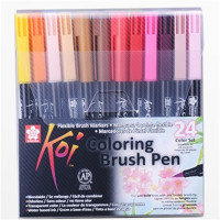 Coloring Brush Pen 24 Color Set Flexible Brush Marker Water Color Pen Liquid Ink Painting Supplies