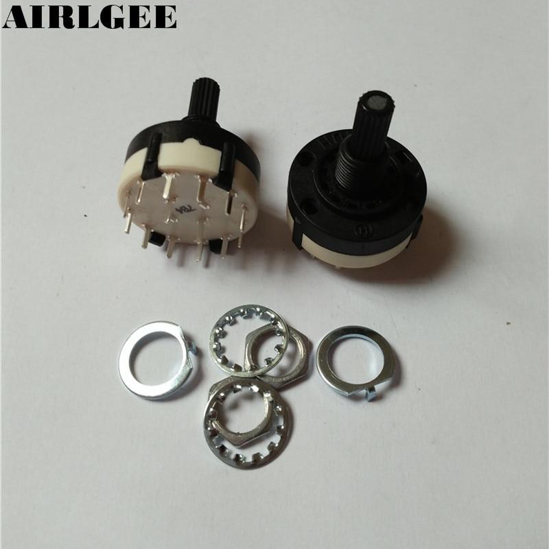 2 Pcs 6mm Diameter Knurled Shaft 2 Pole 6 Positions Rotary Switch 350mA 125V AC