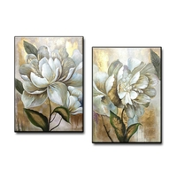 Abstract Gold Color 2 Panel Decorative Canvas Wall Art Handmade Oil Painting Gold Flower Group Painting Canvas Art Modern Decor