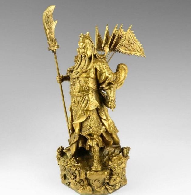 Chinese brass brass Nine Dragon Warrior Guan Gong/ Yu Statue Figure10H Yellow Sculpture wholesale factory BRASS Arts