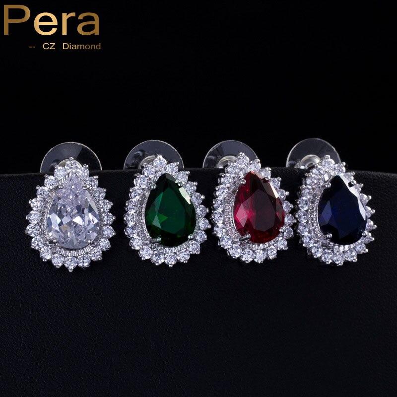 Pera Fashion Korean Style Ladies 925 Jewelry Teardrop Green Blue Red Cubic Zirconia Sterling Silver Stud Earrings For Women E050