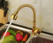2015 Мода позолоченные горячей и холодной Кухонный кран Весна меди овощи раковина pull out кран спрей смеситель 1 шт./лот