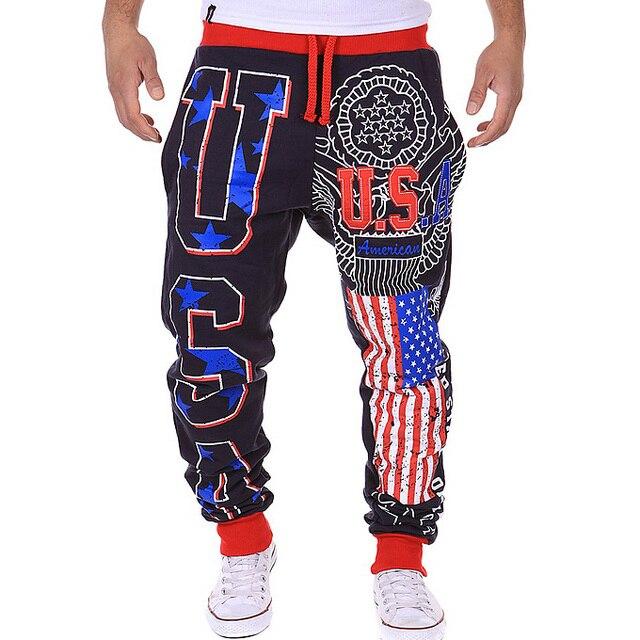 2016 Новых людей Прибытия брюки США буквы дизайн Свободные Длинные брюки Мода человек тренировочные брюки М XXL