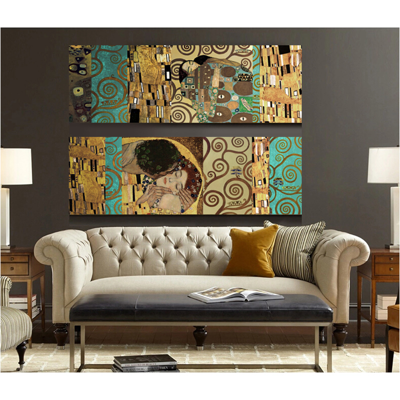 artists gustav klimt the kiss and home decor wall art poster painting posters and prints canvas. Black Bedroom Furniture Sets. Home Design Ideas