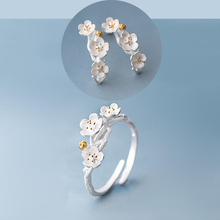 1 Set Lovely Ring And Earring Set, Fashion Silver Female Cherry Blossom Studs And Rings Jewelry Set Korean Style Jewelry