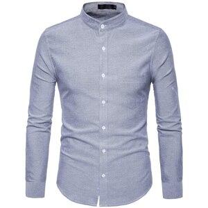 Image 5 - Рубашка мужская приталенная с воротником стойкой, х/б, 6XL