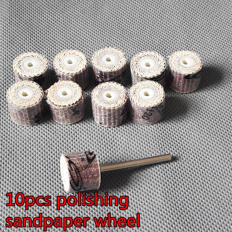 Handle Louver Shutter Wheel Sandpaper Grinding Wheel 10pcs/lot Dremel Accessories Rotary Tools 15mm Dia With 1pcs Mandrels