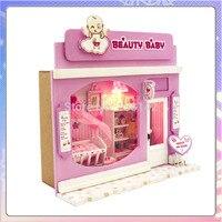 13503 Dollhouse Miniatura Pretty Baby shop Europea diy casa de muñecas con luz LED envío gratis