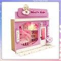 13503 Pretty Baby loja Europeia diy casa de boneca Casa De Bonecas Em Miniatura com luz LED frete grátis