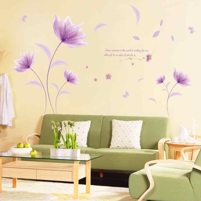 Rumah Dekorasi DIY Bunga Ungu Lingkungan Tata Letak Televisi Latar Belakang Stiker Dinding Yang Dapat Dilepas Dinding Stiker Rumah Deco Cermin AU2