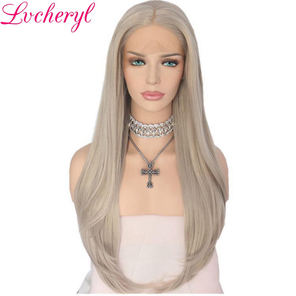 Lvcheryl Natural Long Wavy Hand Tied Silver Grey High Temperature Fiber Synthetic Lace Front Wig For
