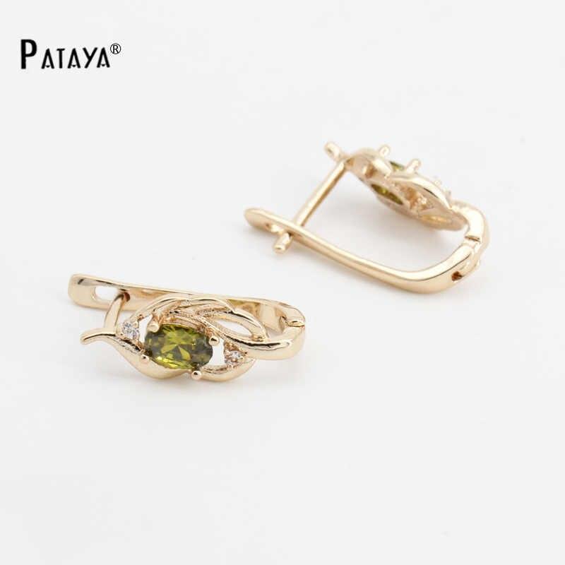 Pendientes PATAYA de color verde oliva Natural, pendientes de zirconia cúbico Natural de oro rosa 585, accesorios de pendientes cortos de joyería fina, pendientes Vintage