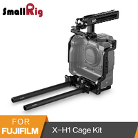 SmallRig Cage +NATO Top Handle+15mm Dual Rod Clamp Kit for Fujifilm X H1 Camera with Batteray Grip 2136