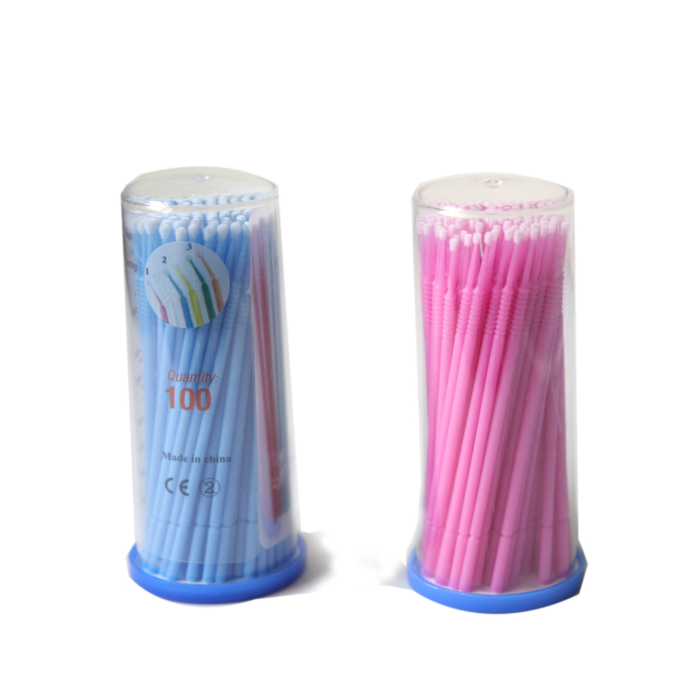 100pcs Plastic Dental Disposable Teeth Cleaning Micro Applicator Brush Bendable Eyelash Extension Lint Free Micro Brush With Box