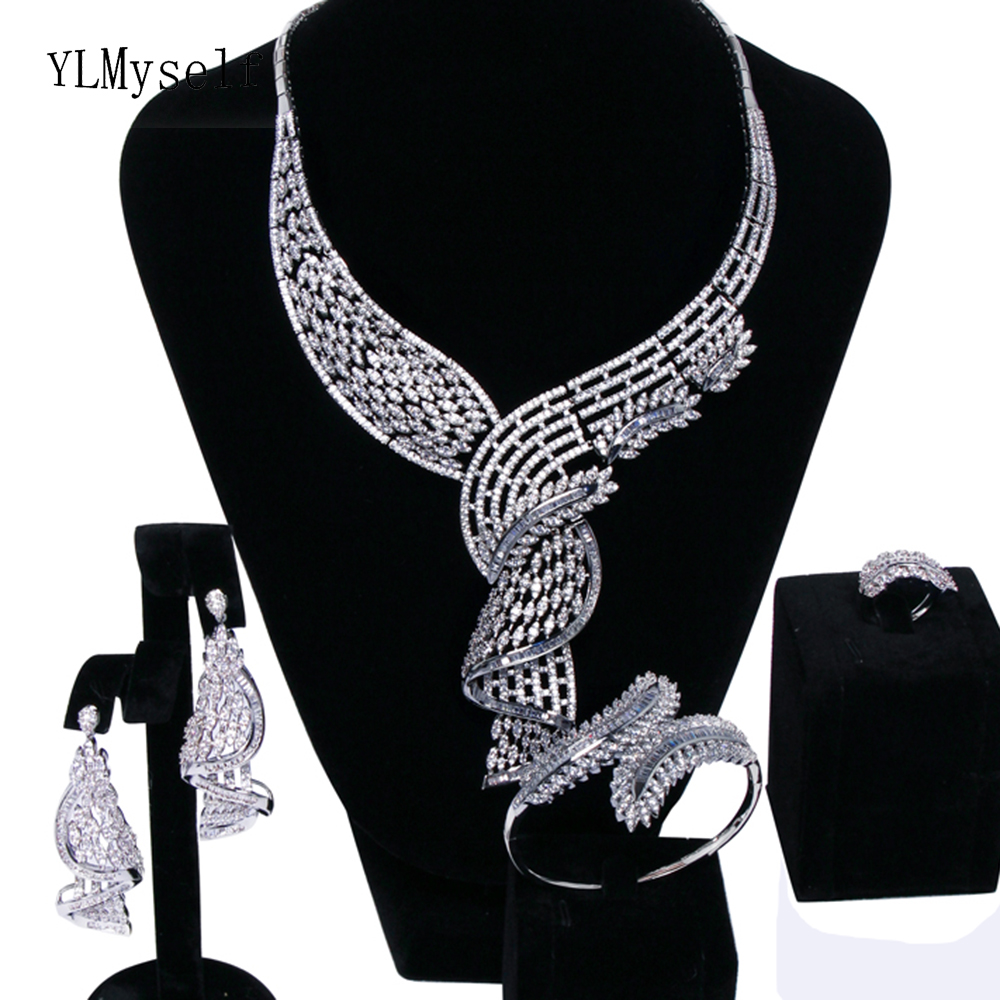 New Fantastic Luxury wedding party Leaf jewellery sets white crystal Necklace+Bracelet+earrings+ring big jewelry set for bridal pico qx