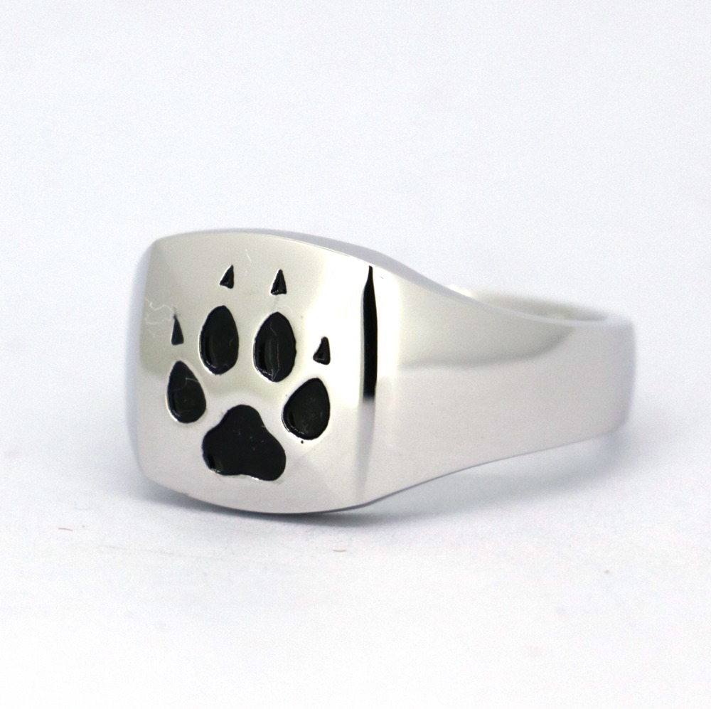 Wellmade Solid Sterling Silver Square Ring, Puppy Feet Ring,Paw Ring