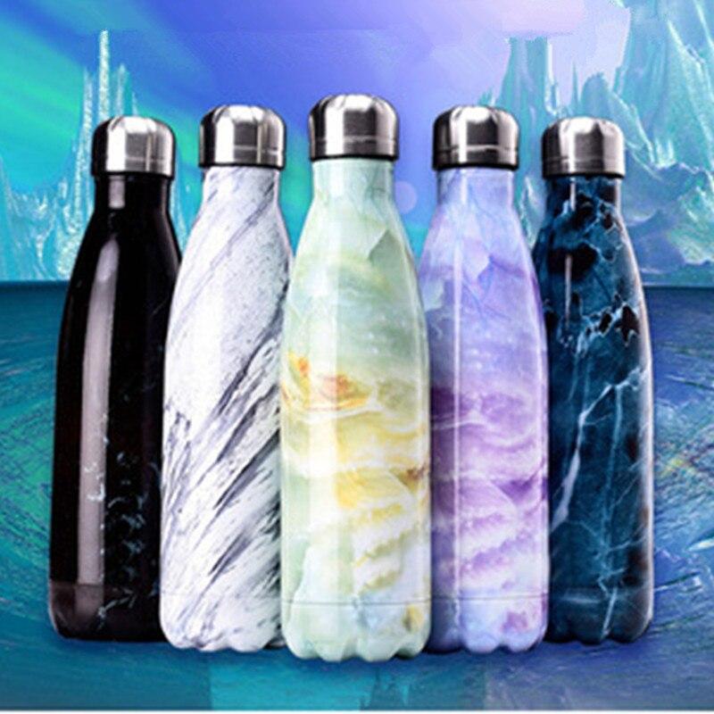 500 ml Fashion Kugel Vakuum Glaskolben Edelstahl Thermos Tragbare Vakuum Isolierte Wasser Flasche Sport 24 h Thermische Trinken Glaskolben