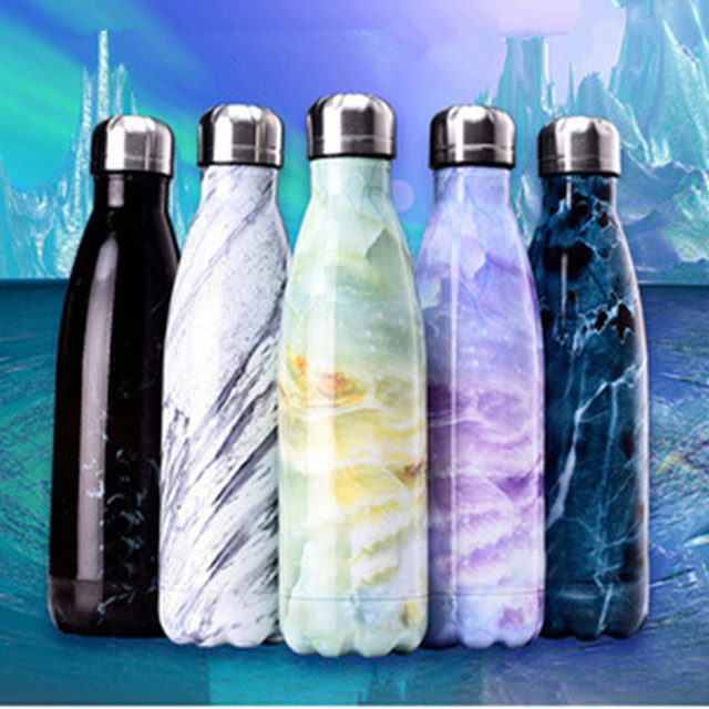 Water Bottle Portable Stainless Steel Vacuum Insulated Wave Water Bottle