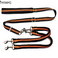 New Nylon Adjustable Dog Double Leash Reflective Strip Lead No Tangle Dog Lead Coupler Elastic Keep