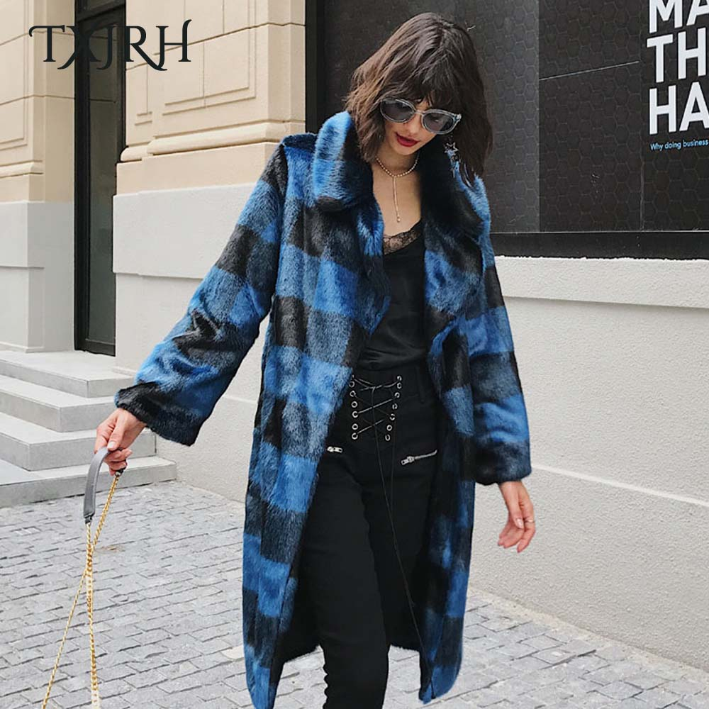TXJRH Stylish Blue Black Contrast Color Plaid Jacket Hairy Shaggy Faux Mink Fur Turn-down Collar Mid Long Outerwear Coat Tops contrast faux fur collar ripped detail jacket