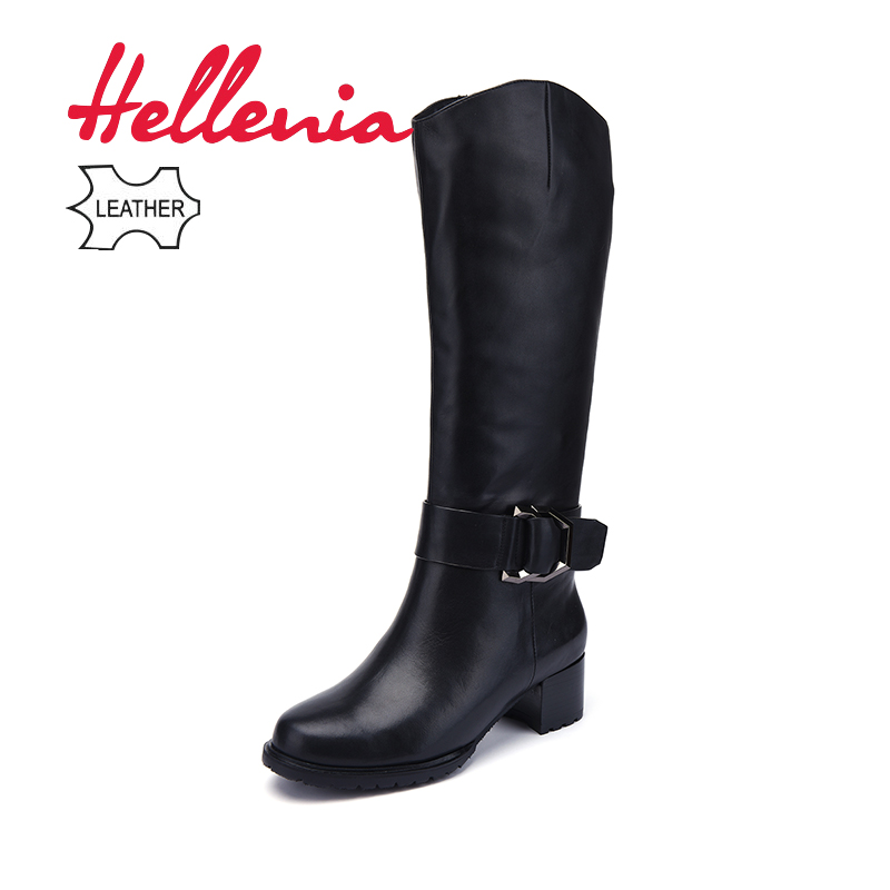 Hellenia High Quality Genuine Leather Boots Wool half Wool Spring Autumn Winter Women Shoes Long Boot Fashion Woman Shoe