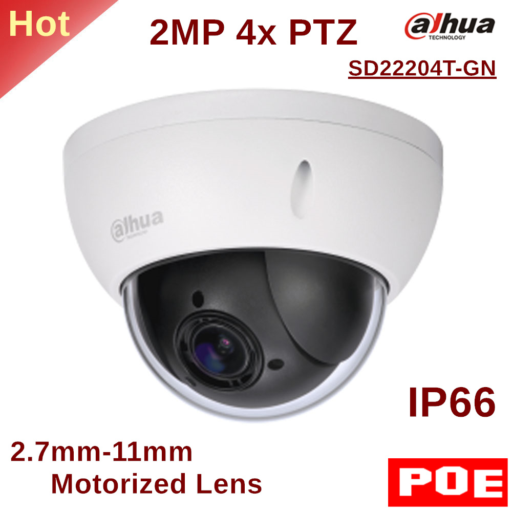 Dahua PTZ Camera SD22204T-GN 2MP 4x PTZ Network Camera 2.7mm-11mm Motorized Lens Support PoE for Outdoor ip camera security cam dahua security ip camera outdoor camera