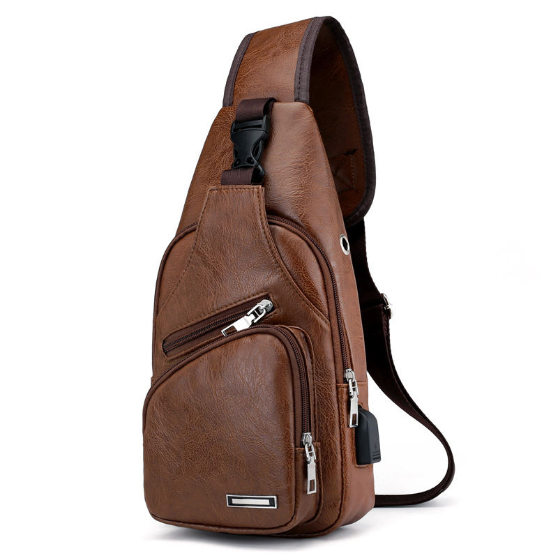 100% QualitäT Jhd-mini Usb-schnittstelle Viel Platz Mens Casual Tasche Mode Im Freien Sling Tasche Reise Tag Pack Pu Leder Brust Tasche Crossbo