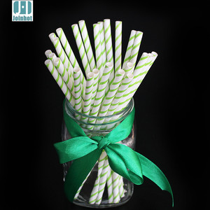Party Supplies 25pcs Green Ribbon Design Paper Drinking Straws Funny Drinking Tubes Wedding Birthday Decoration