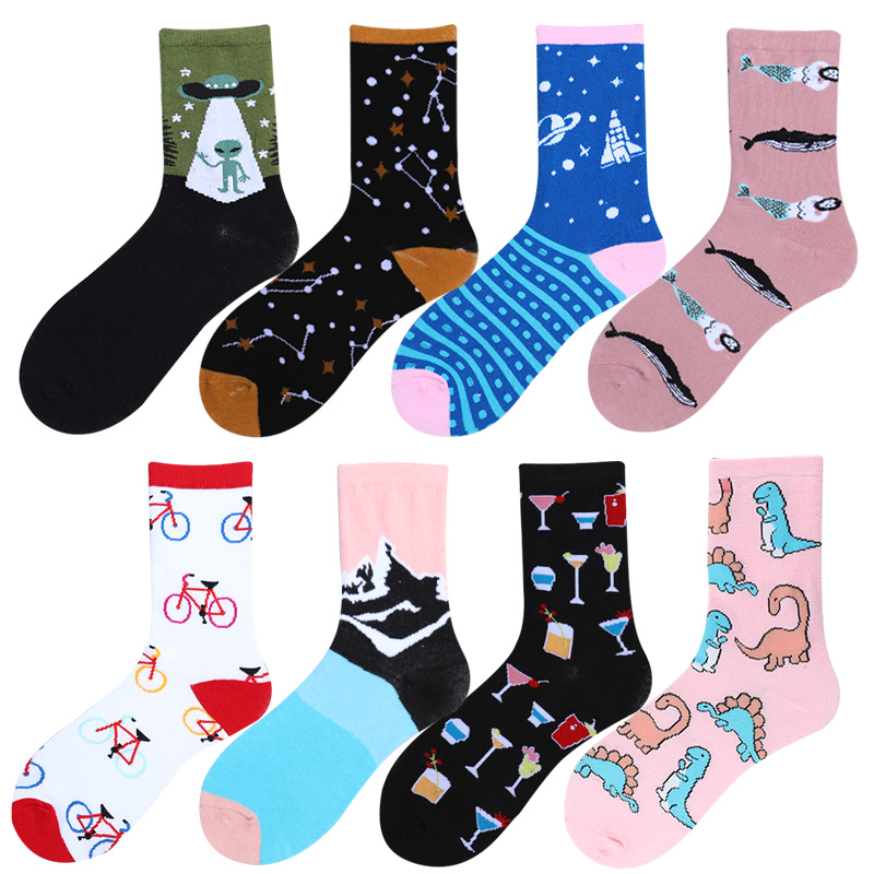 women winter   socks   dinosaur alien happy   socks   space planet harajuku crazy   socks   unisex pineapple wine food fancy funky   socks