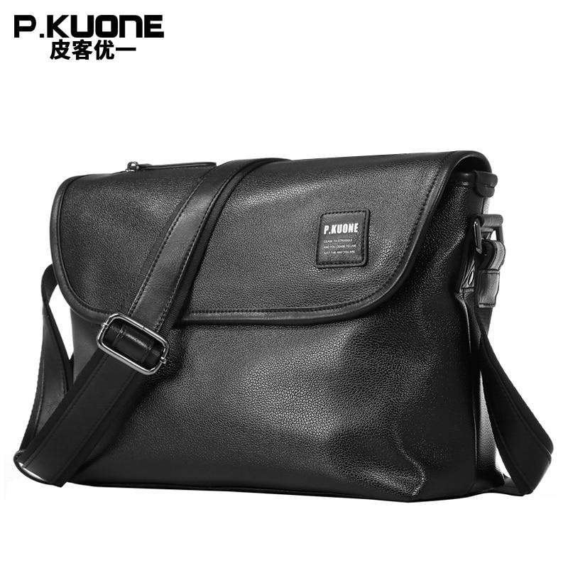 P.KUONE New Design Men Shoulder Bag Male PU Leather Crossbody Cover Messenger Bag Male 14 Inch Laptop Ipad Bag Waterproof Bag