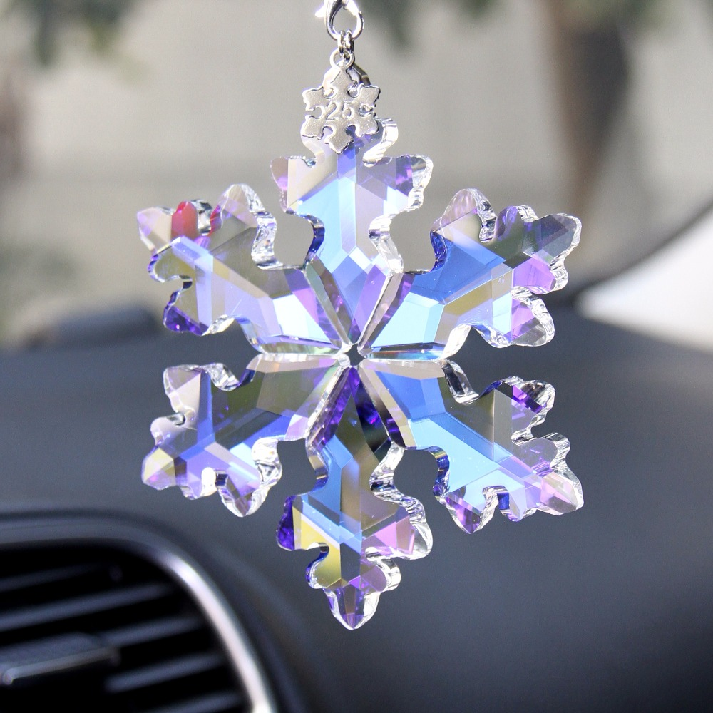 1set AB 89mm Crystal AB Snowflake Pendent High Quality For Car Accessory Or Friends Gift