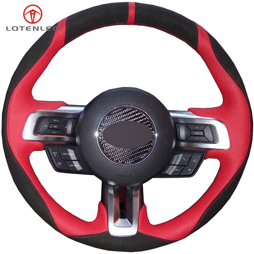 LQTENLEO Black Suede Red Leather Hand stitched Car Steering Wheel Cover For Ford Mustang 2015 2020