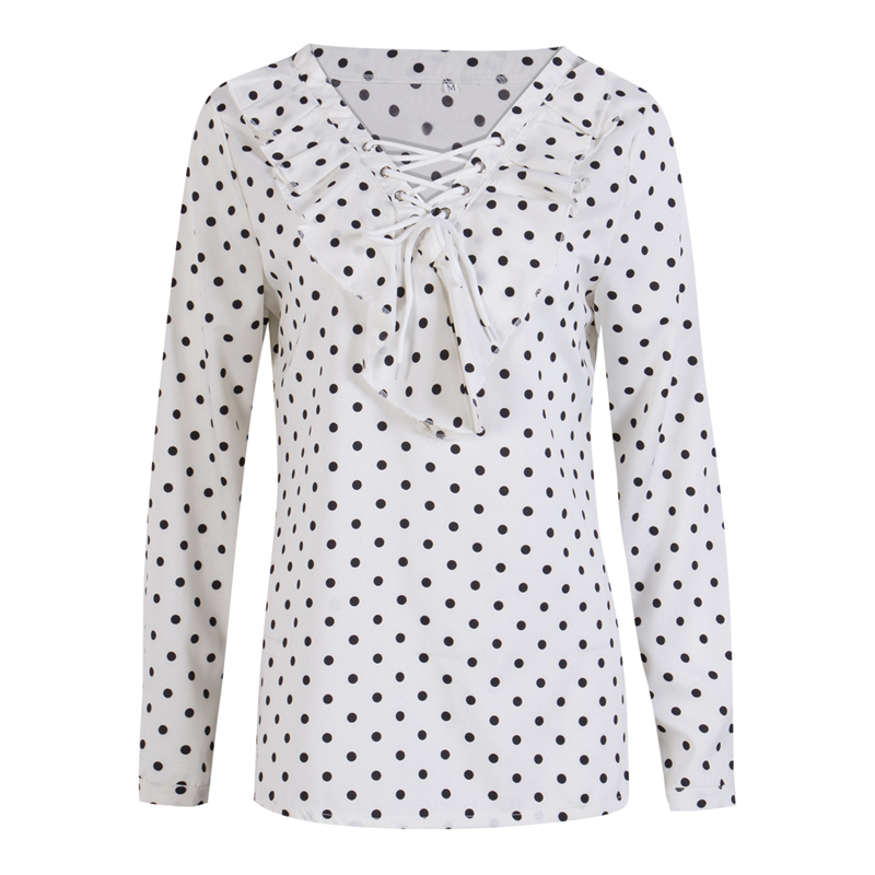 Women's Polka Dot Pattern Long Sleeve V Neck Loose Blouse Tops 2018 Autumn Fashion Elegance Shirts Ladies Pop Blouse S-XL