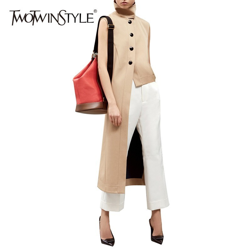 TWOTWINSTYLE 2020 Autumn Women's Vest Stand Collar Sleeveless Single Breasted Long Waistcoat For Women Female Gilet Fashion Tide