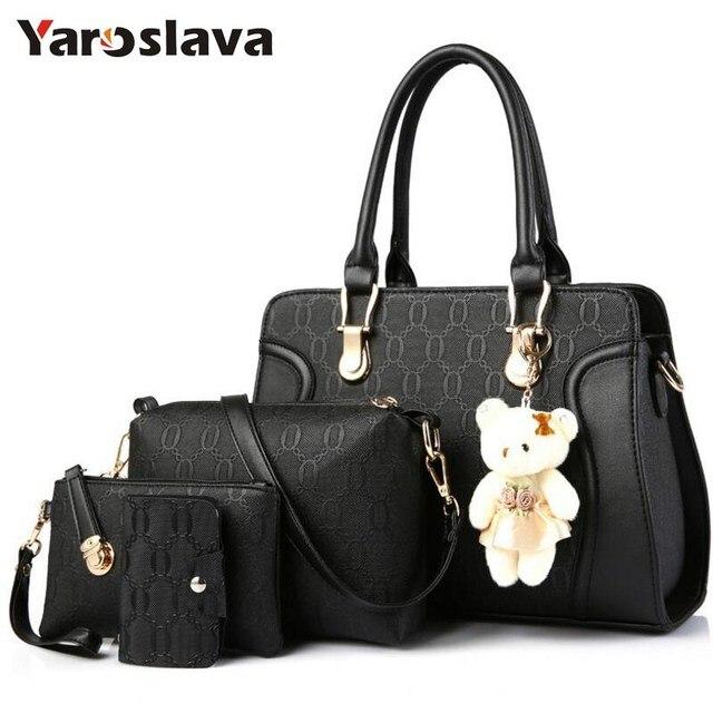 Merek terkenal wanita tas top-handle tas fashion lady messenger tas set PU  Kulit komposit 84470f0763