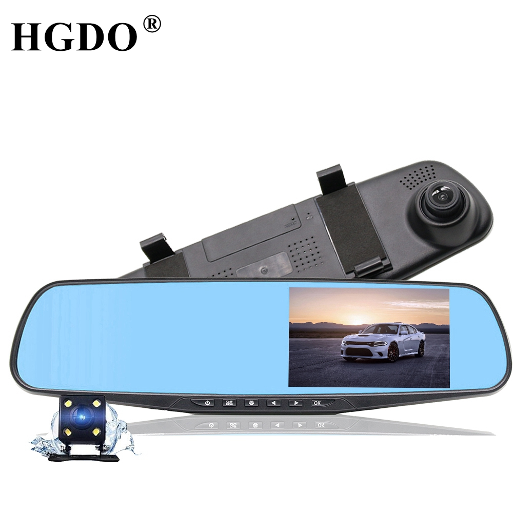 HGDO Dash Cam 4.3'' Rearview Mirror Camera Recorder Dual Lens Car DVR recorder video Full HD1080P Night vision Parking Monitor