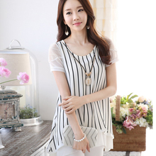 S-2XL New Women's Chiffon Shirt Summer 2016 Fashion Casual Stripe Patchwork Lace Short-sleeve Loose Tops Blouse Female Plus Size