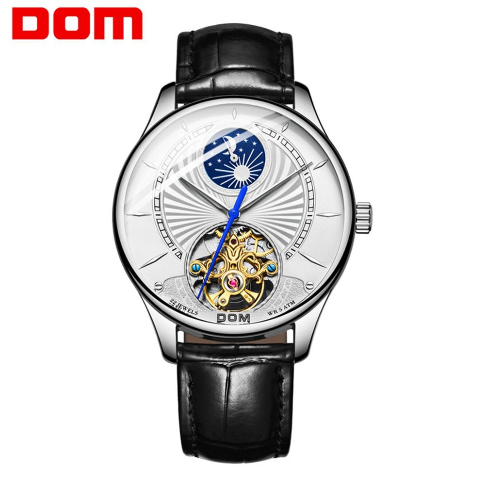 DOM 2019 New Ultra-thin Creative Men Mechanical Watches Business Waterproof Watch Top Brand Leather Automatic Watch M-1260L-7M