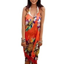 Sfit Women Cover-Up Bathing Suits  Bikini Shawl Sunscreen Chiffon Beach Shawl Big Size Floral Print Spaghetti Beach Tunic 2019