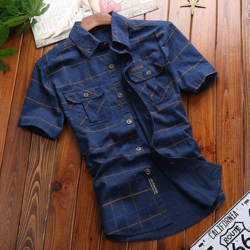 AFS JEEP Men Casual Fashion Shirts Plaid Shirt Short Sleeve 100% Cotton Breathable Men's Brand Clothing Plus Size S-5XL 5009